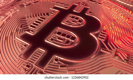 Bitcoin crypto currency in red tint 3d illustration
