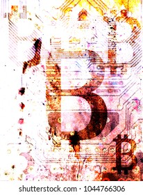 Bitcoin cryptocurrency concept, graphic collage, spots effect.