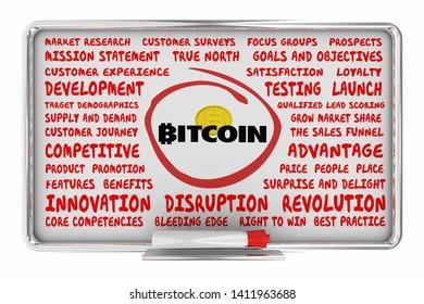 Bitcoin Cryptocurrency Digital Money Marketing Business Plan Idea Board 3d Illustration