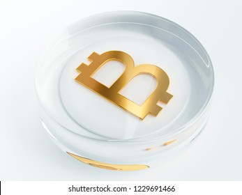 bitcoin cryptocurrency golden symbol covered with transparent glass or plastic 3d render, 3d illustration