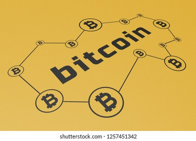 Bitcoin Cryptocurrency, Illustration Perspective, Word Printed Black on Yellow Gold Carton Paper, Symbol, Network, Process, Function, Infographic