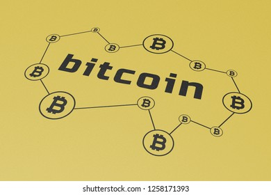 Bitcoin Cryptocurrency, Illustration Perspective, Word Printed Black on Gold Carton Paper, Symbol, Network, Process, Function, Infographic