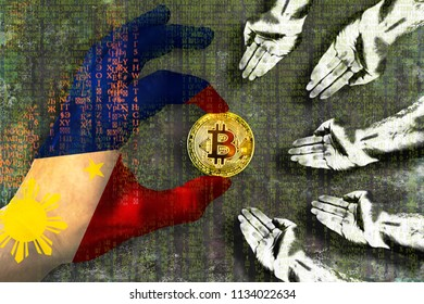Bitcoin cryptocurrency Phillipines flag Golden Coin in the Filipino flag hand giving coin in to hands of poor people Grunge background with binary code of matrix effect Business mining graphics card