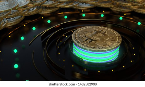 Bitcoin cryptocurrency symbol on dark background. Finance and business 3d render. Glow neon green lights, blur, bokeh.