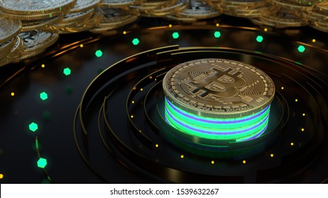 Bitcoin cryptocurrency symbol on the digital background. Finance and business 3d render. Glow neon lights, blur, bokeh.