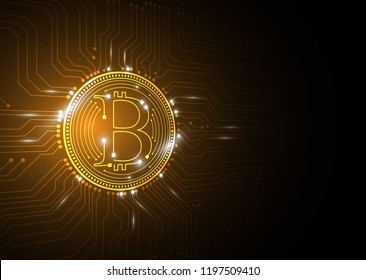 bitcoin currency circuit gold background