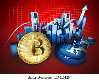 bitcoin currency crypto money exhange concept 3d illustran graphics