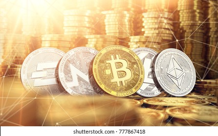 Bitcoin, Dash, Ripple, Monero, Litecoin and blockchain nodes in blurry closeup against lots of golden coin piles. Cryptocurrency meaning on global market growth concept. 3D rendering