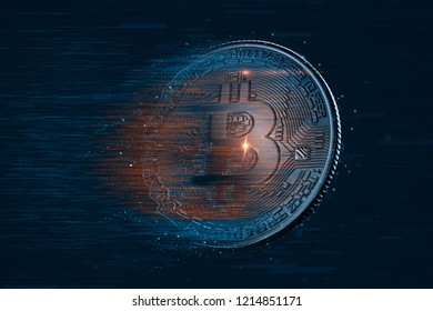 Bitcoin digital currency. 3D illustration. Contains clipping path