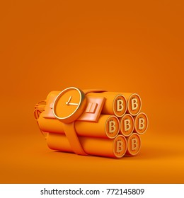 bitcoin dynamite bomb on orange background. expression of cryto currency as time bomb. 3d rendering illustration.