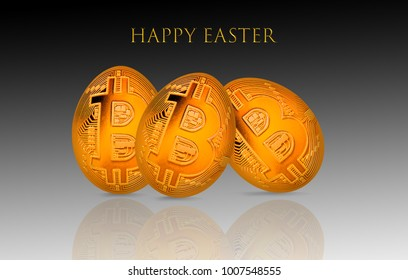 Bitcoin easter golden egg. Crypto happy holidays card. Premium luxury looking greetings.