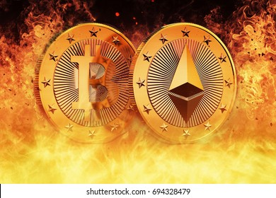 Bitcoin and Ethereum are HOT - 3D Rendering