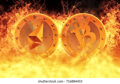 Bitcoin and Ethereum on Fire - Clash of the Crypto Currencys - 3D Rendering