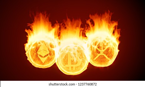 Bitcoin, ethereum and ripple burning in fire. Gold coins burn down. Red market decline, crash and blockchain bubble. Crypto capitalization in flames concept 3D illustration. 4K