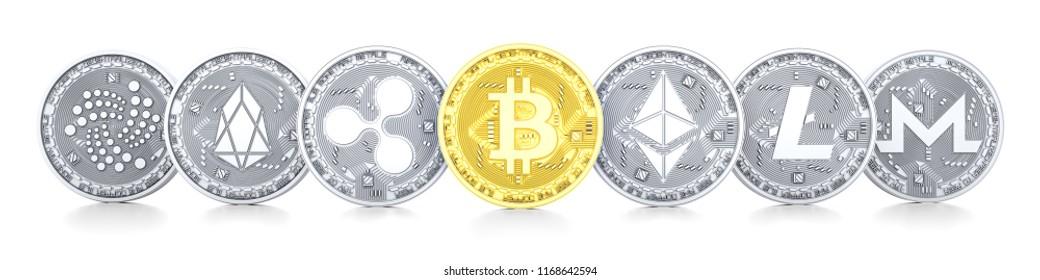 Bitcoin, Ethereum, Ripple, Litecoin, Eos, Monero, Iota 3d, isolated on white background