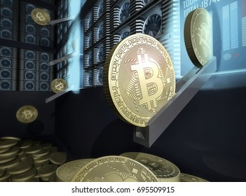 Bitcoin farm. Mining technology concept. 3d rendering illustration
