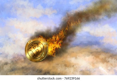 Bitcoin, fire, a fall, a crisis, a collapse. Oil  digital paintings. Fine art.