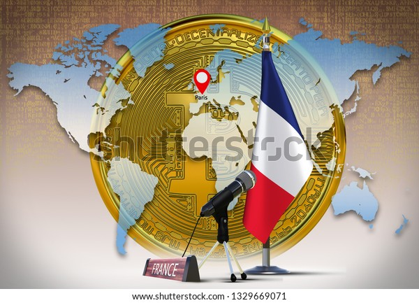 Bitcoin and France flag Country member of G20 and G7 on metal rack with microphone and name plate against world map background with fall binary code Mining gold coin of crypto currency 3d render