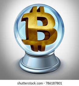 Bitcoin future and cryptocurrency prediction and predicting the value of digital currency as a financial symbol inside a crystall ball as a 3D illustration.
