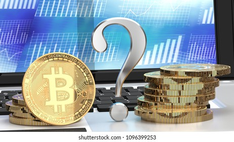 Bitcoin future, question mark and a bunch of golden coins on a laptop, close up, 3d illustration
