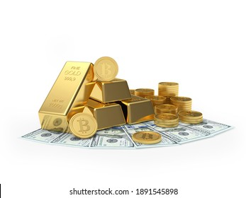 Bitcoin with gold bars and coins on dollar bills isolated on white background. 3D illustration