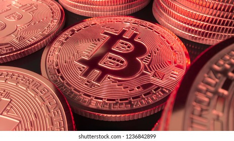 Bitcoin gold coin digital crypto currency crashing in the red close up 3d illustration