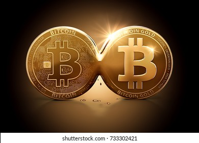 Bitcoin Gold emerging out of Bitcoin as a result of Hard Fork. Bitcoin splitting into two currencies concept. 3D illustration