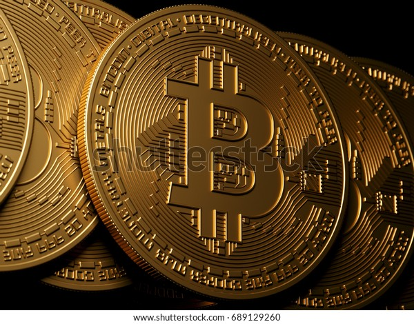 Bitcoin gold isolation on black