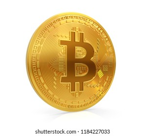 Bitcoin. Golden coin with bitcoin symbol isolated on white background. Digital currency. Block chain. Cryptocurrency. 3D illustration.