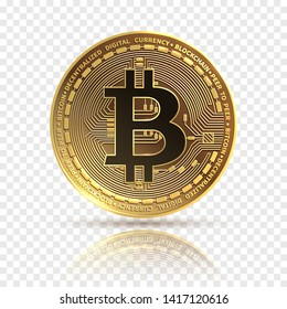 Bitcoin. Golden cryptocurrency coin. Electronics finance money symbol. Blockchain bitcoin isolated icon. Bit coin isolated, bit-coin physicalbitcoin illustration