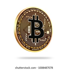 Bitcoin Golden bitcoin icon isolated on white background 3d rendered