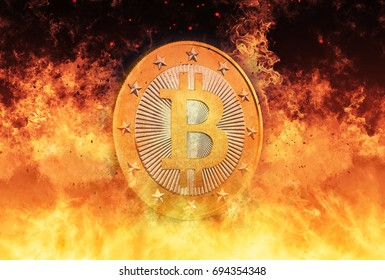 Bitcoin is HOT - Bitcoin the Virtual Currency - 3D Rendering