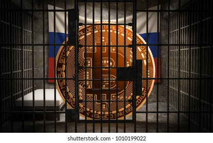 Russia's Bitcoin investors BANNED, Not Illegal, Ban BTC, block chain technology for crypto currency, 3D Rendering