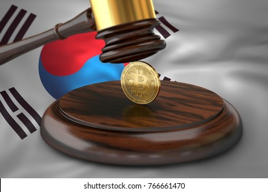 Bitcoin and judge gavel laying on flag of South Korea. Bitcoin legal situation in South Korea concept. 3D rendering