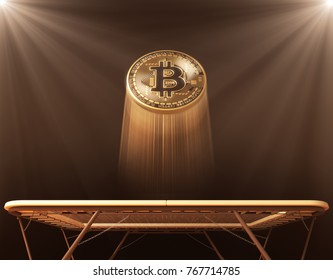 Bitcoin Jumps On The Trampoline. 3D Illustration.