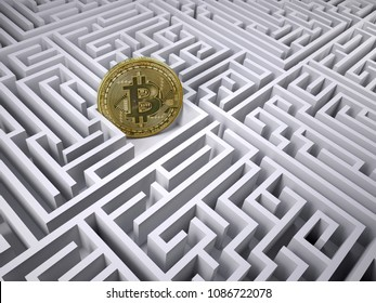 bitcoin in the labyrinth maze, 3d illustration