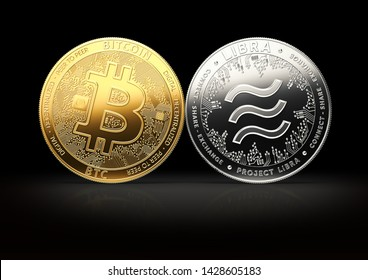 Bitcoin and Libra fights for the leadership on black background. Competing cryptocurrencies concept. 3D rendering