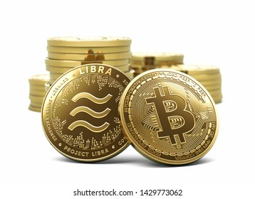 Bitcoin and Libra - recently announced cryptocurrency in front of other coins stacks and piles. Concept design coin isolated on white background. 3D illustration