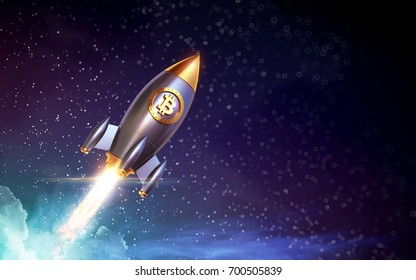 Bitcoin logo rocket launcher, cryptocurrency concept. The growth rate of the gold coin for designers and breaking news. Gold piece appreciation in the form. 3d render
