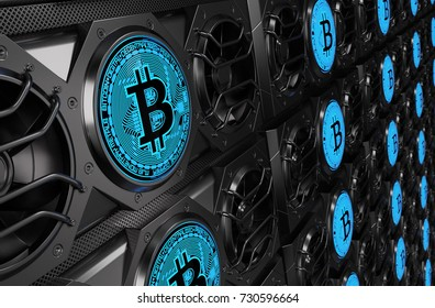 Bitcoin Mining Concept. 3D illustration
