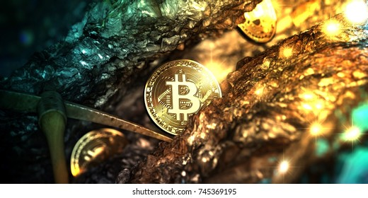 Bitcoin mining in deep golden cave - 3d illustration.
