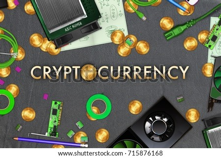 Bitcoin Mining Themed Collage On Leather Stock Illustration