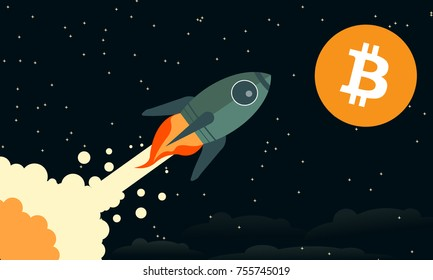 """Bitcoin To The Moon"" Classic Rocket Illustration Background Concept"