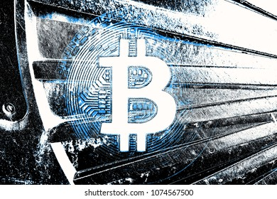 Bitcoin on abstract background. Crypto mining concept.