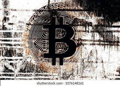 Bitcoin on abstract background.Bitcoin. Crypto currency Bitcoin, BTC, Bit Coin. Crypto mining concept.