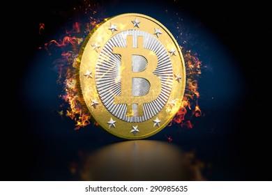 Bitcoin on Fire - flames around a golden Bitcoin - 3D Rendering