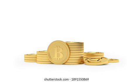 Bitcoin on a pile of euro coins isolated on white background. 3D illustration