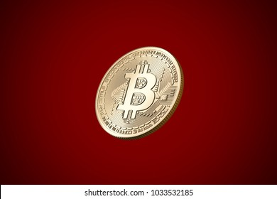 Bitcoin on red background. digital finance concept.