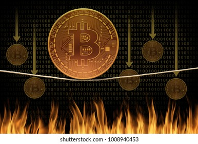 Bitcoin on tightrope balancing act crash and burn scene as bitcoins fall into a fire with binary code in the background representing falling value price and bad cryptocurrency investments.