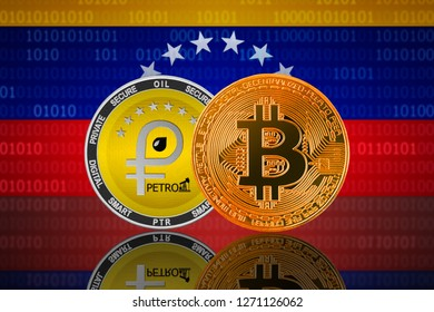 Bitcoin and Petro cryptocurrency in Venezuela; bitcoin and petro coin on the background of the flag of Venezuela